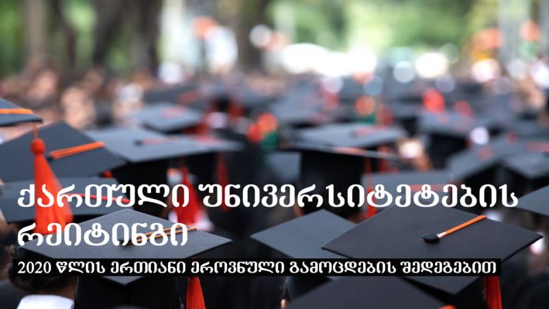 ქართული უნივერსიტეტების რეიტინგი 2020 წლის ერთიანი ეროვნული გამოცდების შედეგებით