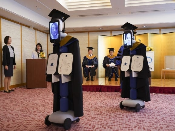 A Japanese University used remote-controlled robots to hold a virtual graduation